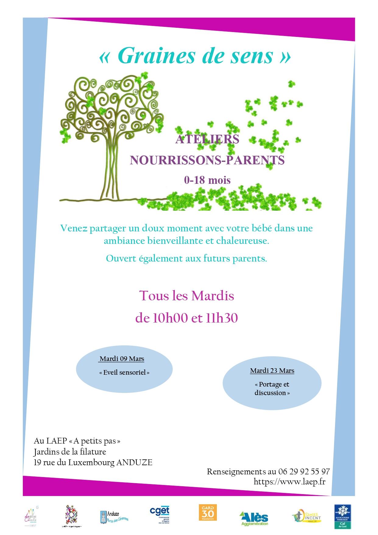 """Atelier Nourrissons/Parents (0-18 mois) """" Eveil sensoriel"""""""