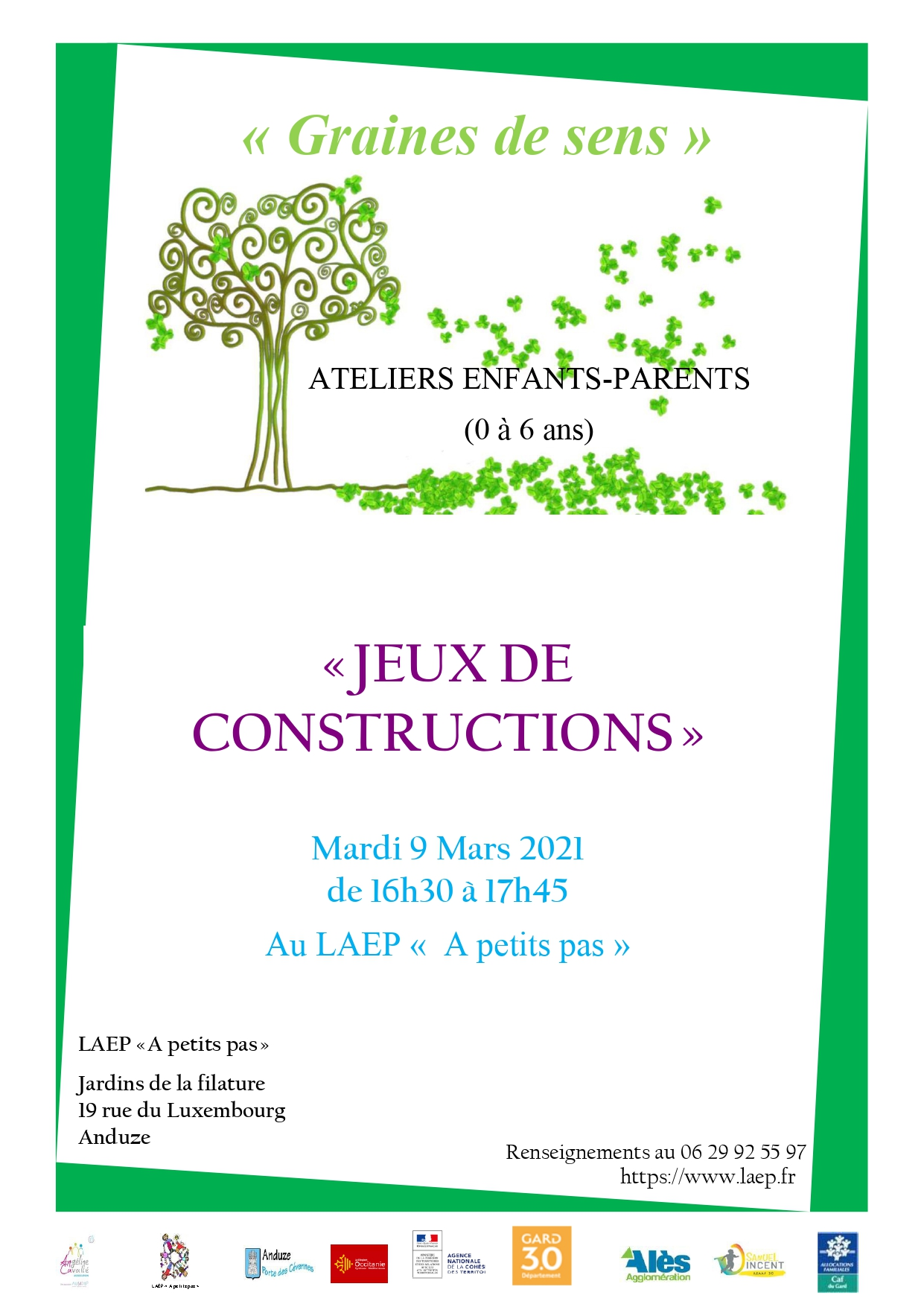 """Atelier Enfants/Parents (0-6ans) """"Jeux de construction"""""""