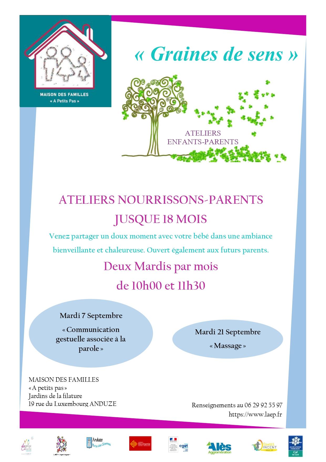 """Atelier Nourrissons/Parents ( jusqu'à 18 mois) """"Massage"""""""